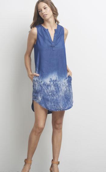 93-F44156 Crackle Shirt Dress Denim